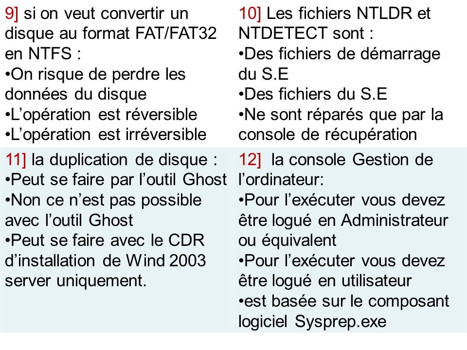 9] si on veut convertir un disque au format FAT/FAT32 en NTFS :